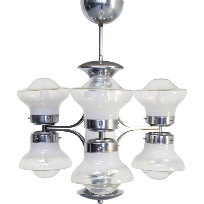 Vintage Carlo Nason chandelier with 6 globes for Mazzega, Czechoslovakia, 1950s