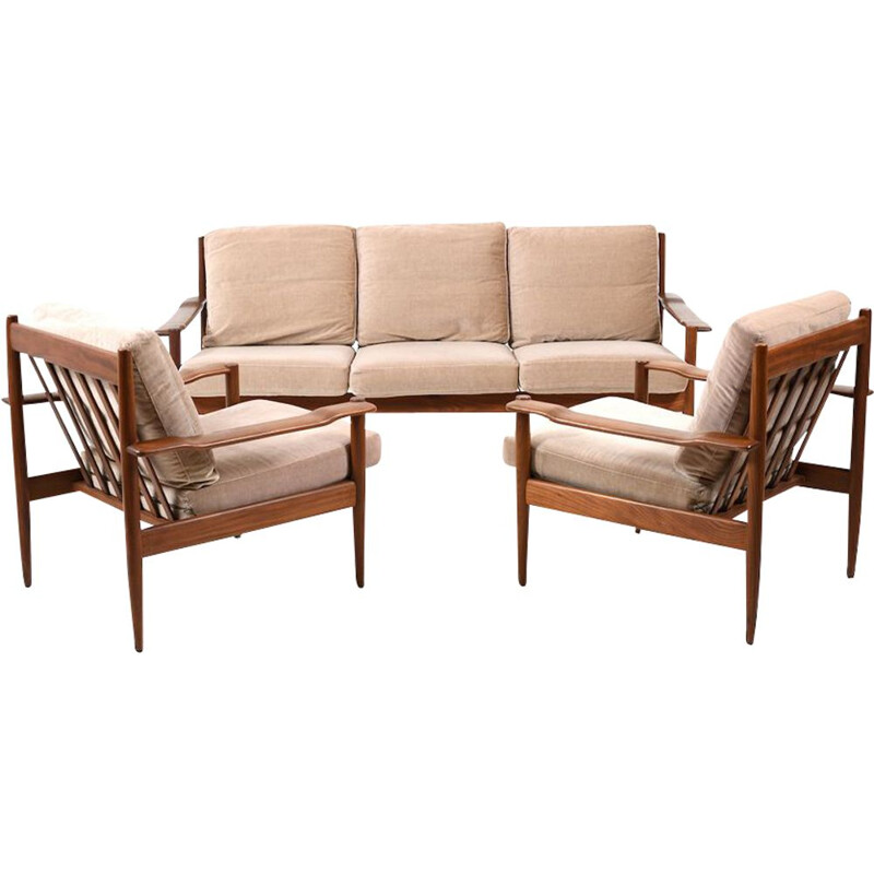 Mid Century Danish Teak Seating Group 3-1-1