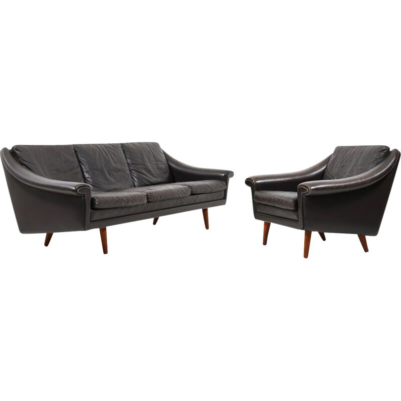 Danish Leather 3-Seater Sofa and Armchair by Aage Christiansen