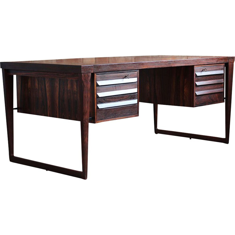 Vintage Rosewood Executive Desk by Kai Kristiansen, Model 70, 1950s