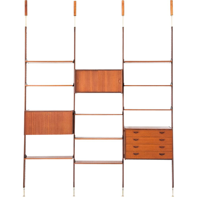 Italian Modern Teak and Brass Wall Unit, 1950s