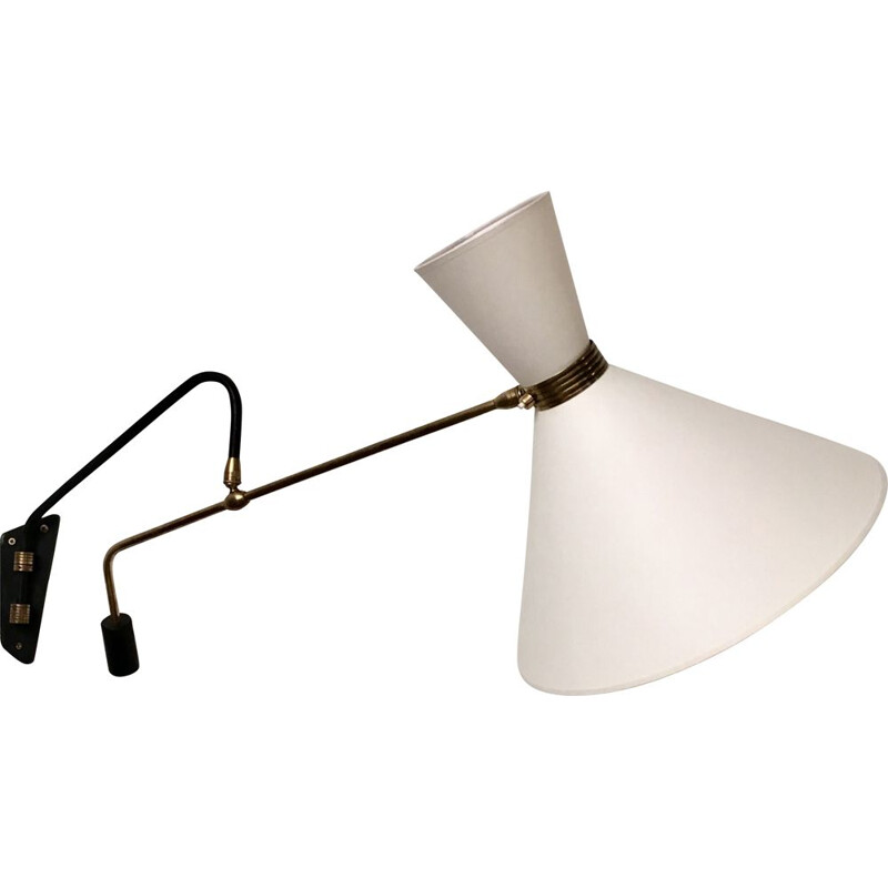 Vintage counterweight diabolo wall light by Maison Lunel, France, 1950s