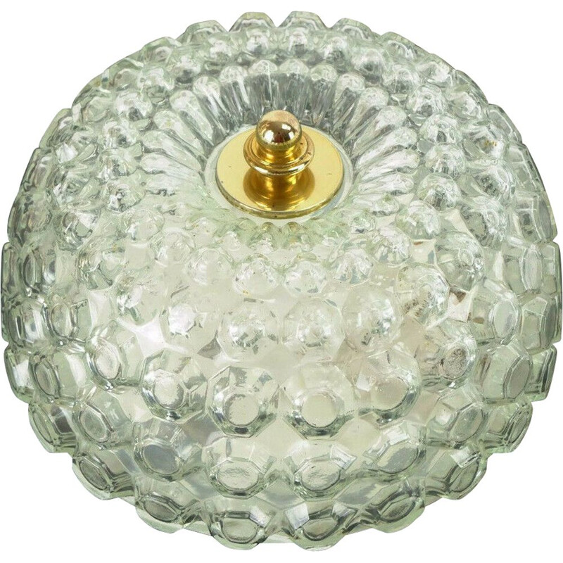 Vintage bubble glass ceiling lamp by Glashuette Limburg, 1960-70s