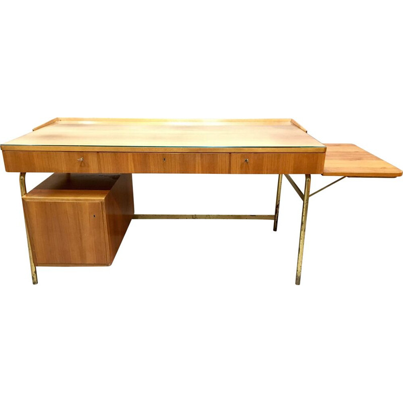 Vintage rosewood and brass desk, 1950s