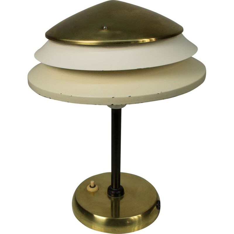 Vintage table lamp in brass and metal by Zukov, Czechoslovakia, 1940s