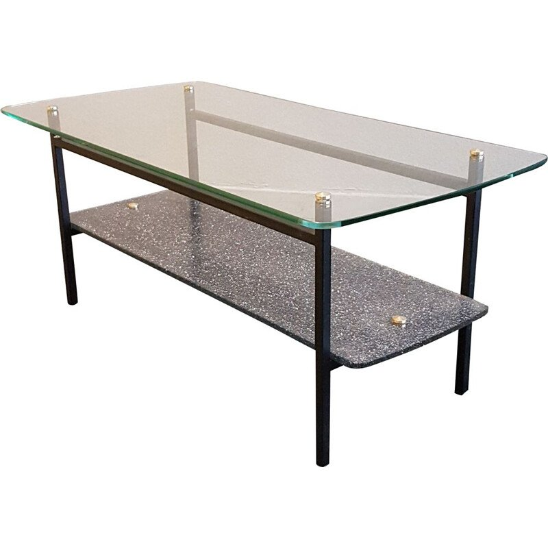 Vintage coffee table in glass and lacquered metal, 1950s