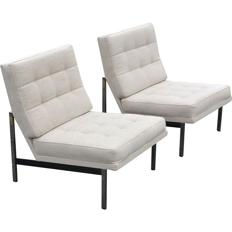 "Set of 2 vintage armchairs ""Parallel bar"" by Florence Knoll, 1950s"
