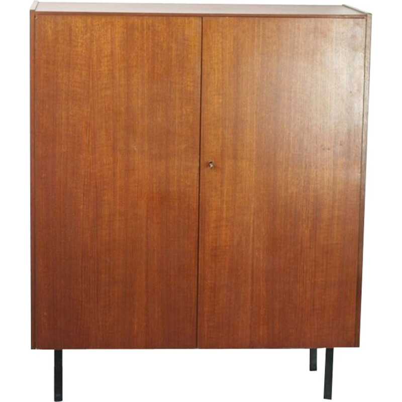 2-door vintage teak cabinet with key, 1950s