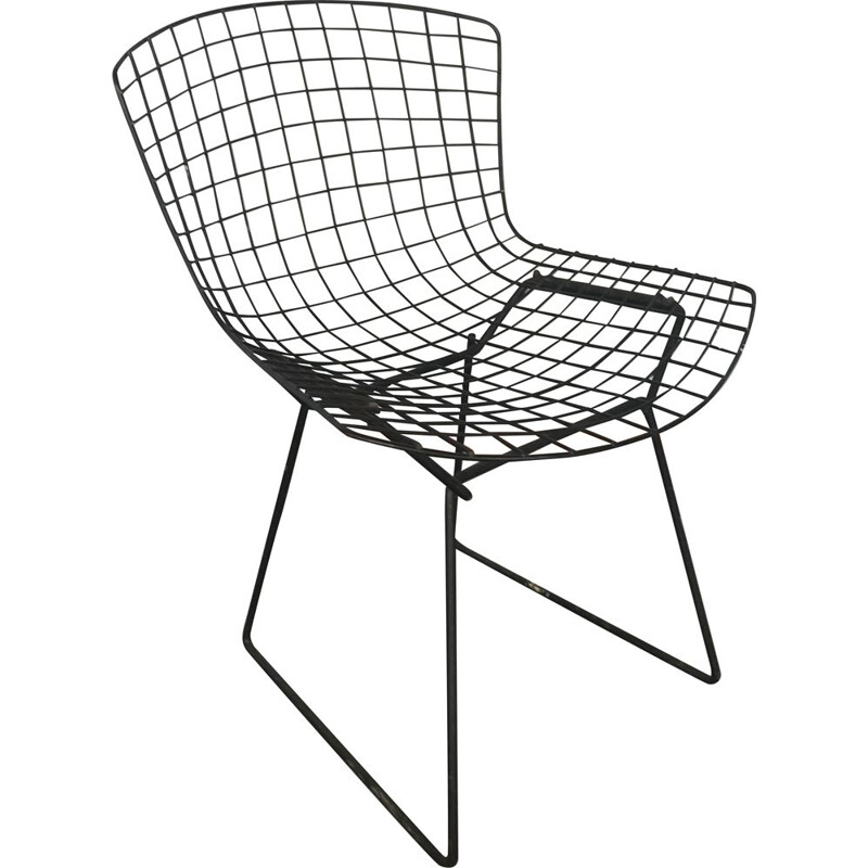Black vintage chair by Harry Bertoia for Knoll International, 1970s
