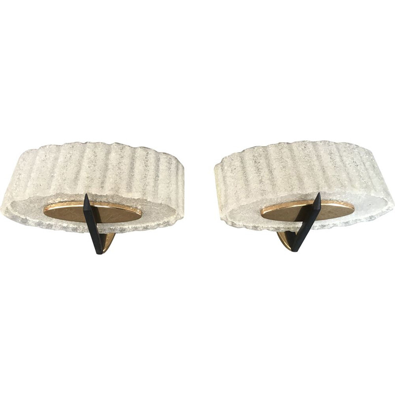 Pair of vintage wall lamps by Arlus, 1960s