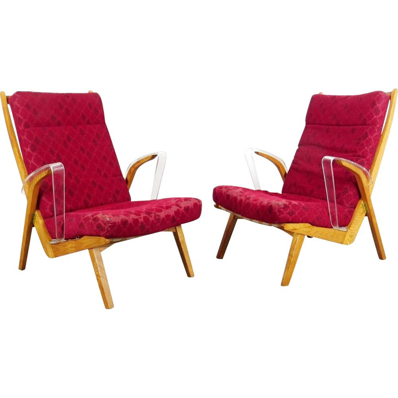 Set of 2 red armchairs by ULUV, 1960s