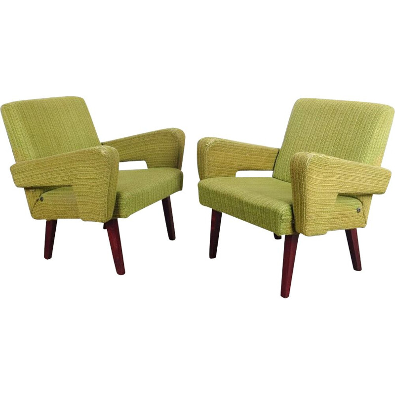 Set of 2 green vintage armchairs, 1960s