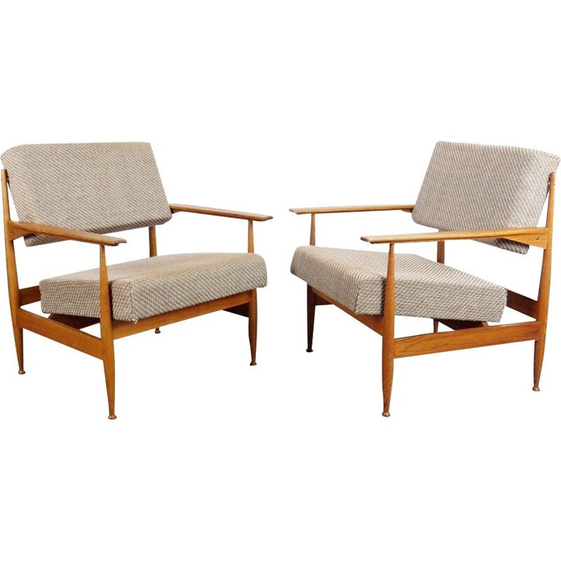 Set of 2 grey vintage armchairs, 1960s