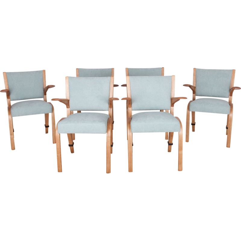 Set of 6 vintage french oak dining chairs by Hugues Steiner for Steiner, 1960s