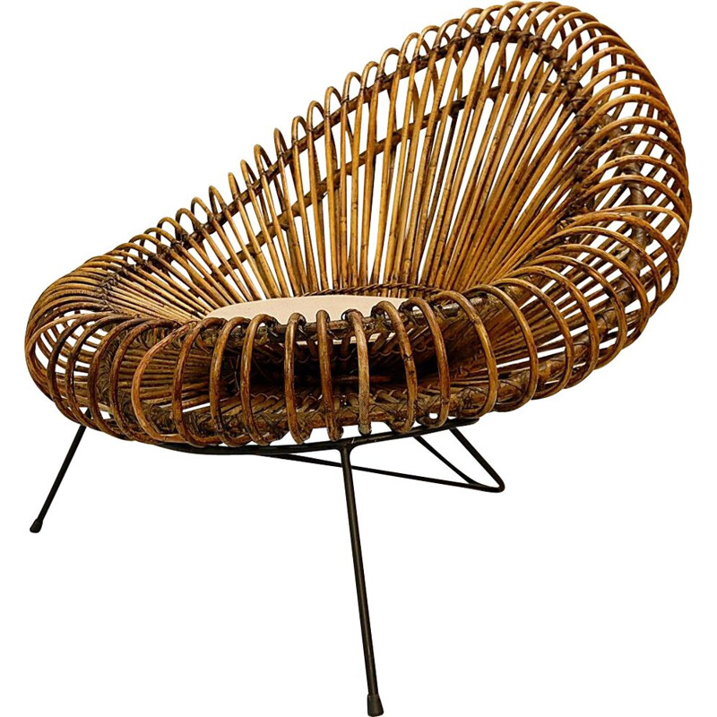 Vintage sculptural armchair in rattan by Franco Albini, 1960s