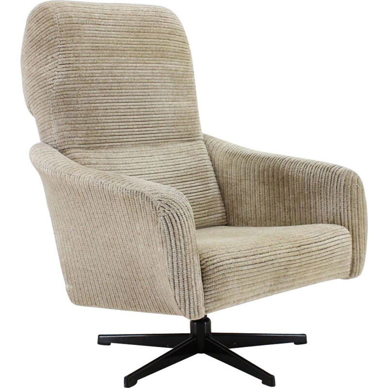 Vintage grey swivel armchair, 1970s