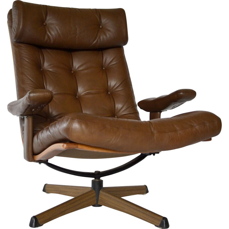 Vintage Swivel Leather Lounge Chair from Göte Möbler