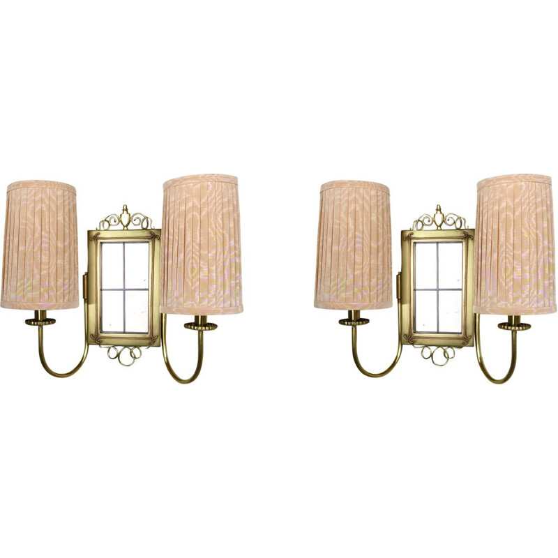 Pair of Brass Wall Lights with Fabric Shades, 1930s