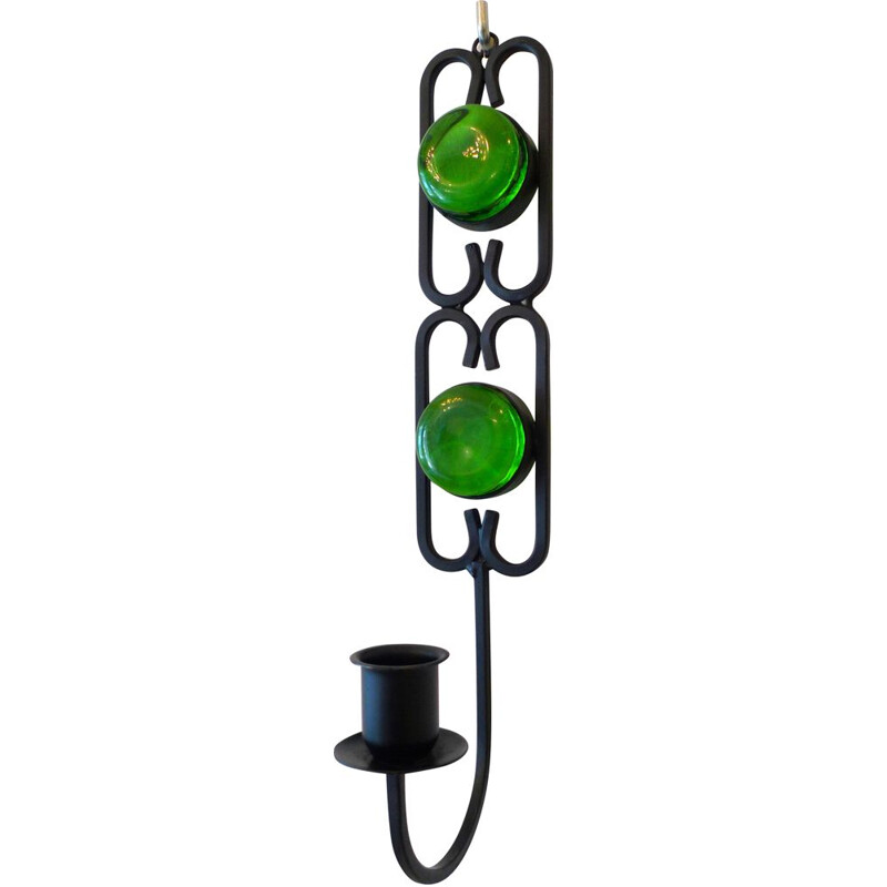 Vintage Green Glass Wall Mounted Candlestick by Erik Höglund for Boda, Sweden, 1960s