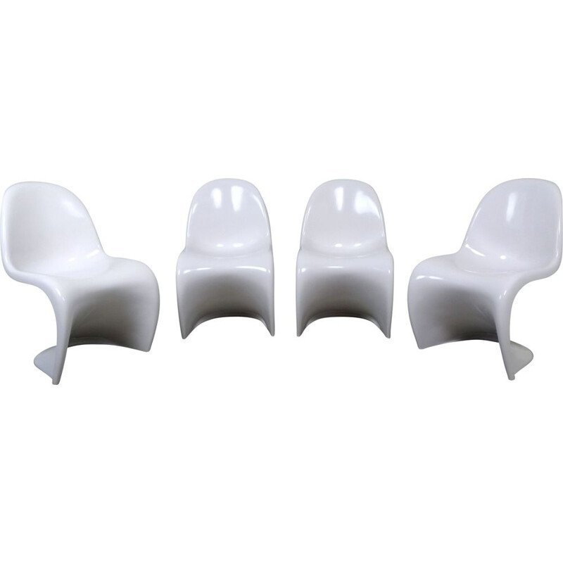 Set of 4 vintage White Panton Chairs by Verner Panton for Vitra, Germany, 1971