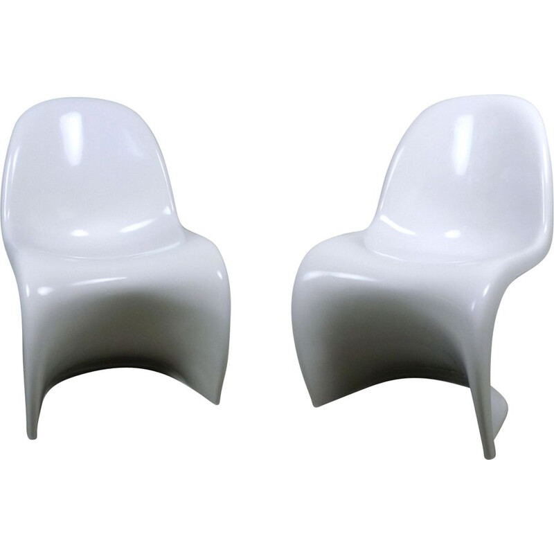 Vintage Set of 2 White Panton Chairs by Verner Panton for Vitra, 1970s