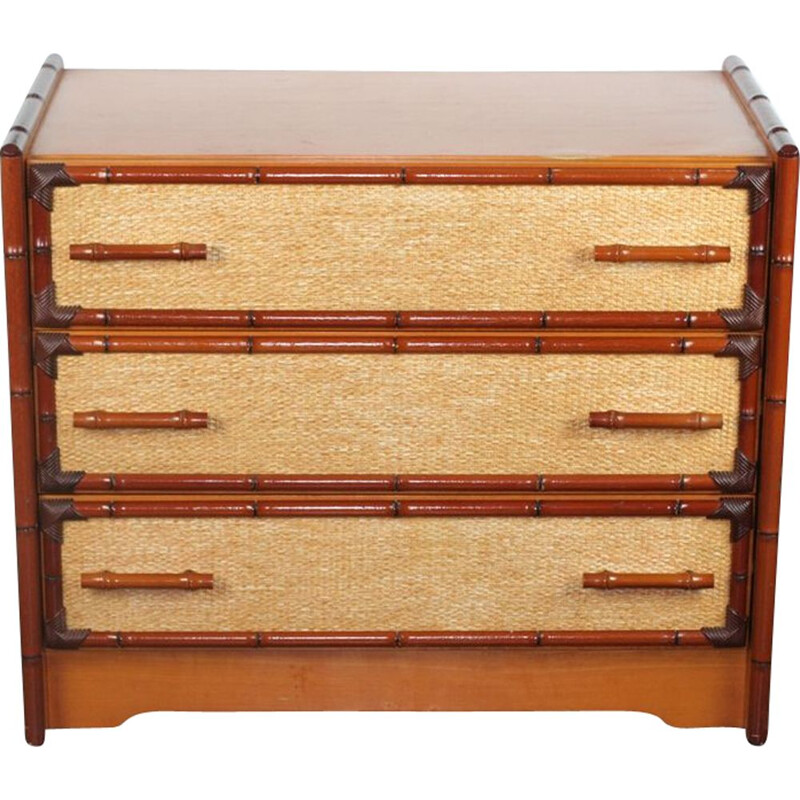 Vintage bamboo and canning chest of drawers 1980