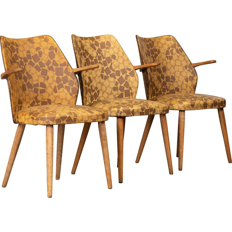 Vintage set of 3 Danish vinyl chairs
