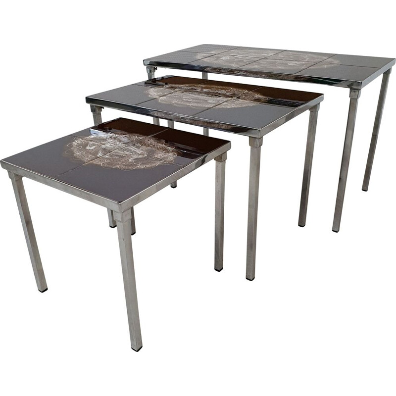 Vintage handpainted ceramic nesting tables by Juliette Belarti for Belarti, 1960s