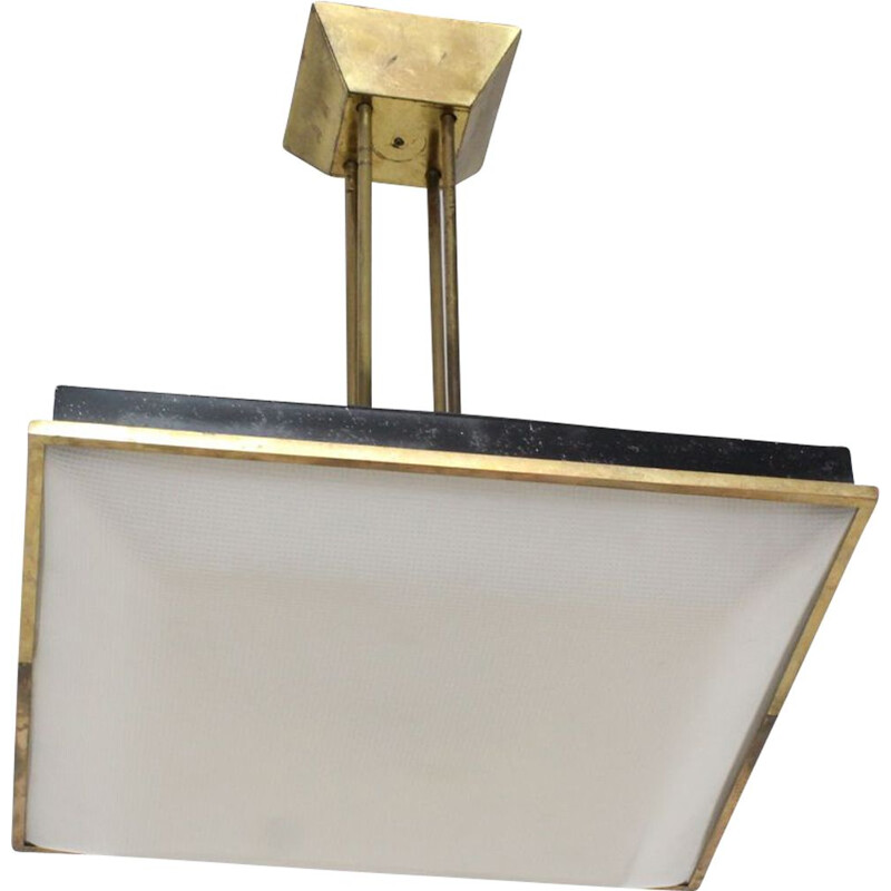 Stilnovo perspex and brass vintage pendant light, 1950s