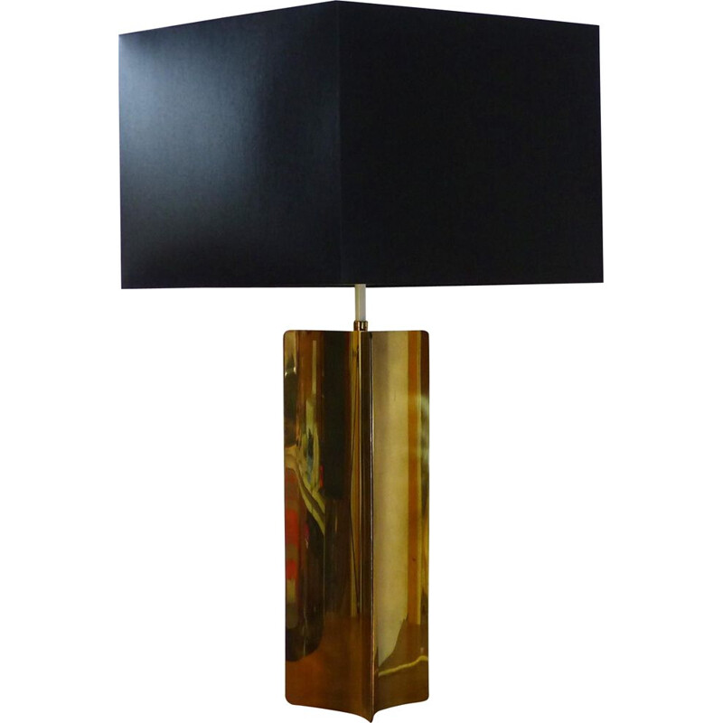 Large vintage lamp in folded gilded brass, 1970s
