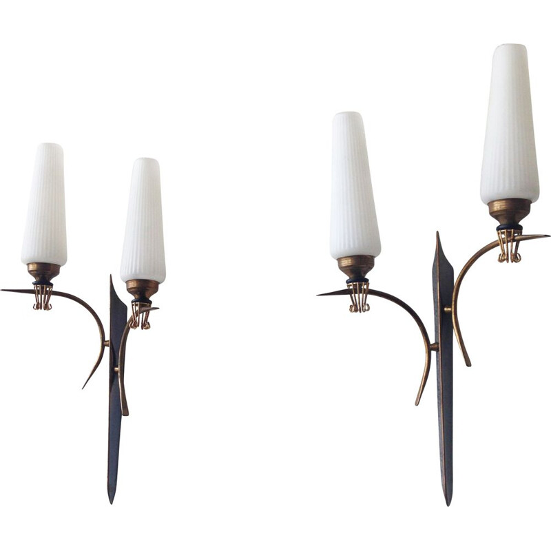 Pair of Arlus brass and glass wall lamps, 1950s