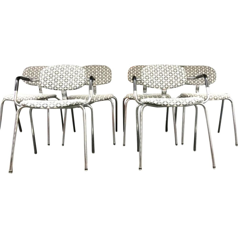 Set of 6 vintage easy chairs Strafor, 1980s