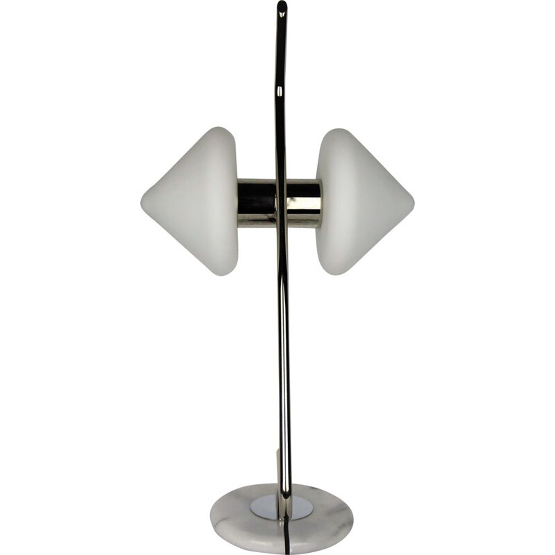 Vintage glass and marble lamp by Arlus, 1950s