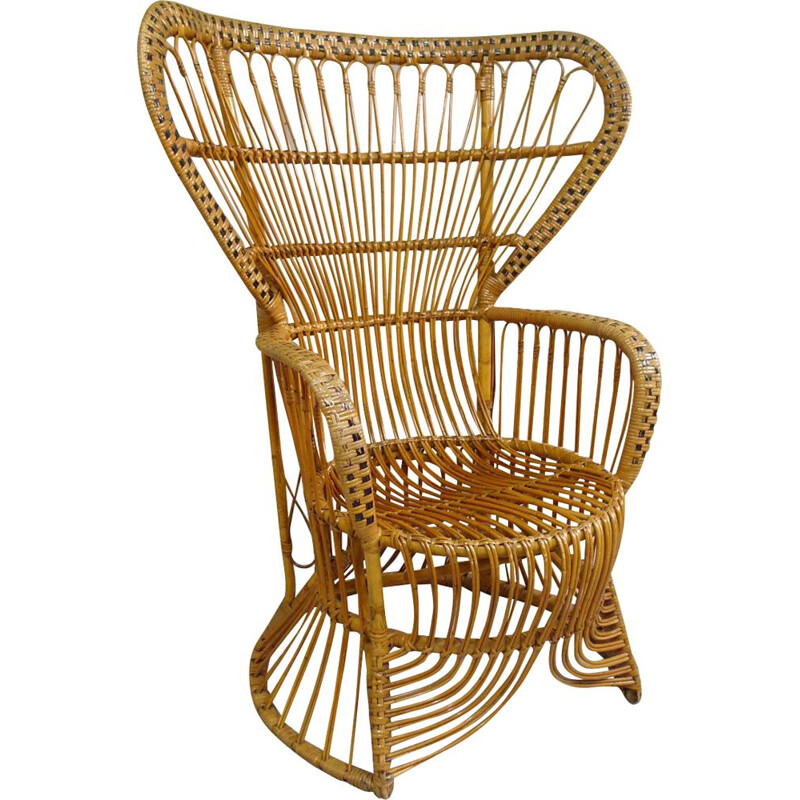 Large vintage rattan chair, 1950s