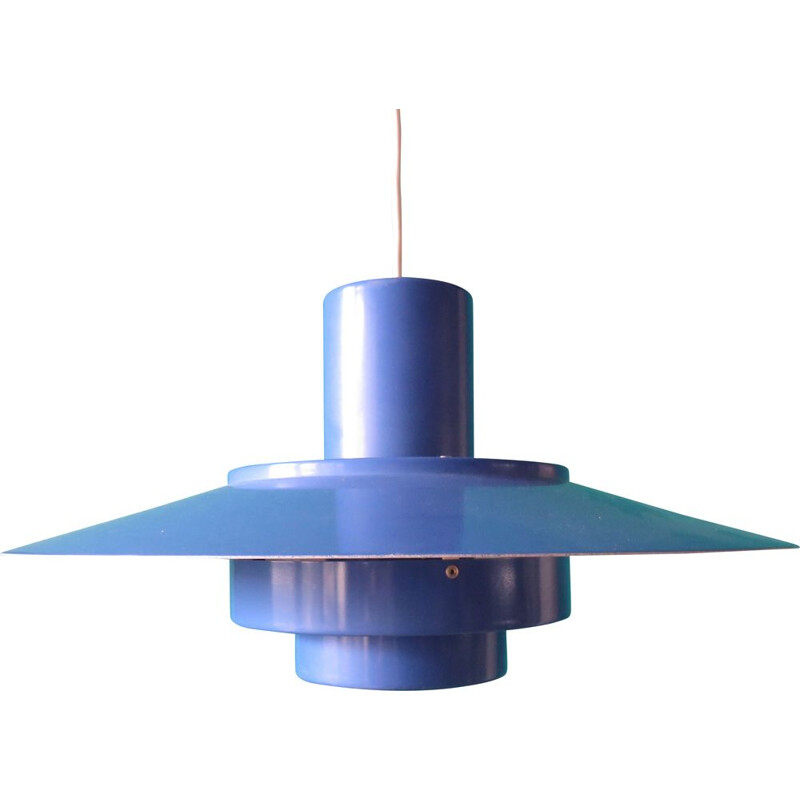 Vintage blue lacquered metal pendant light, 1960s