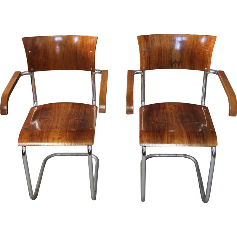 Set of 2 vintages wooden chairs by Anton Lorenz, 1930s