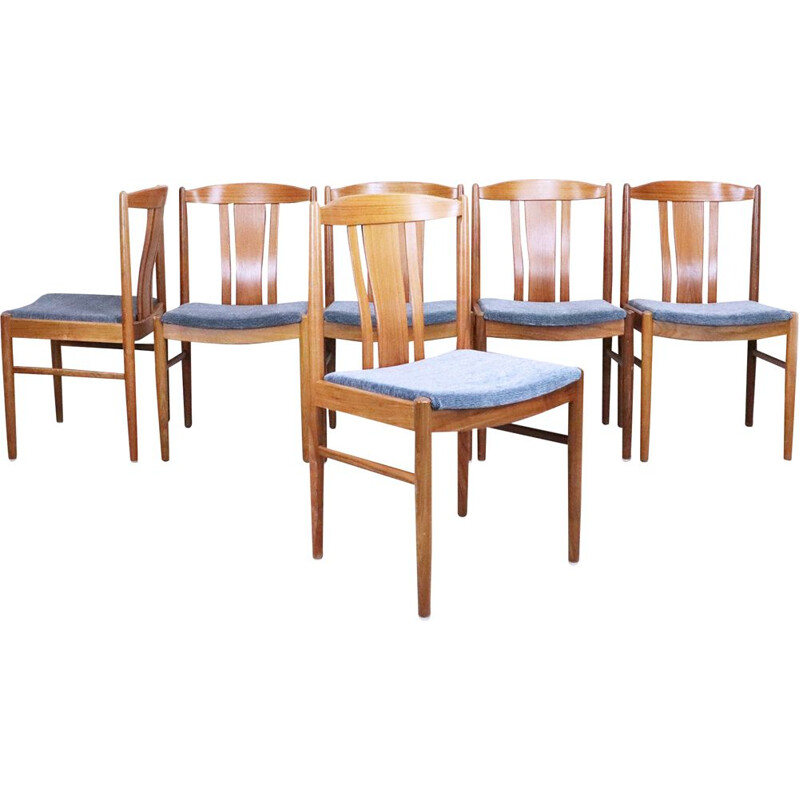 Set of 6 vintage teak chairs, Sweden, 1960s