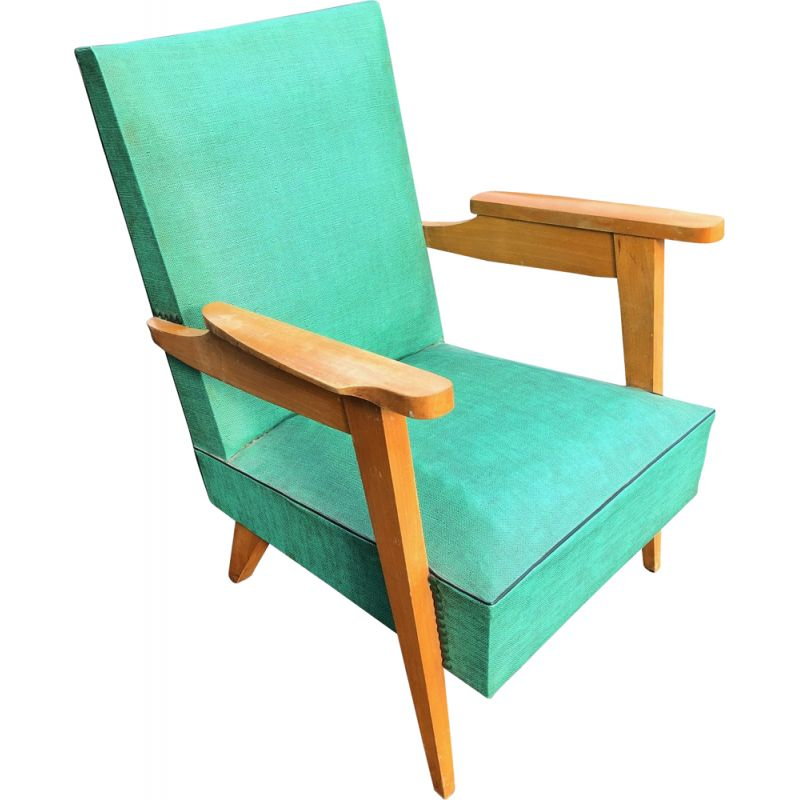 Vintage armchair in skai and oak with compass feet, 1950s