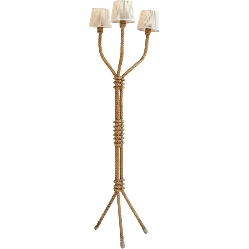 Vintage floor lamp in rope, 1940-50s