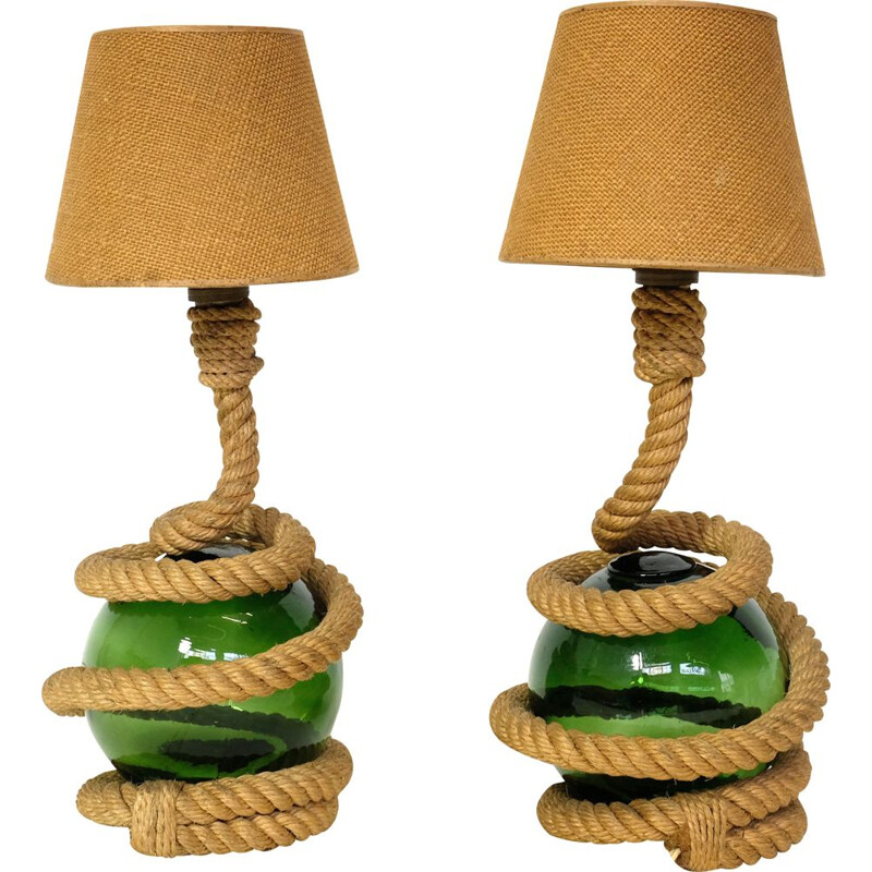 Set of 2 vintage lamps in rope and glass, 1940-50s