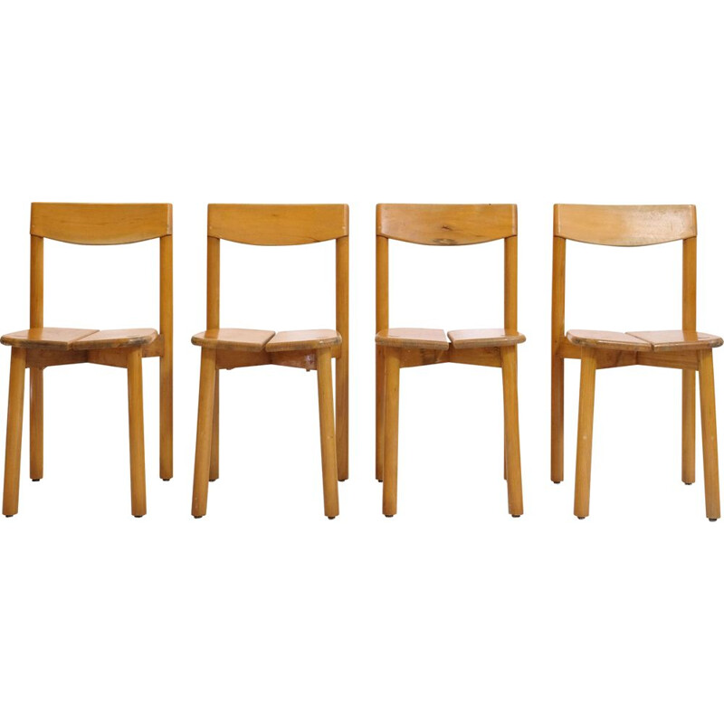Set of 4 vintage chairs by Pierre Gautier Delaye at the Vergnères editions, 1950s.