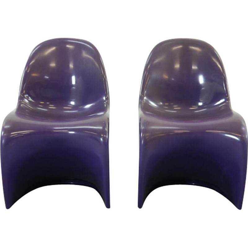 Pair of vintage Panton S-Chairs in Purple by Verner Panton for Herman Miller, 1971