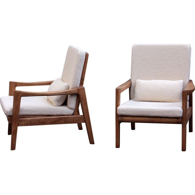 Pair of wooden armchairs and bucklefabric, 1950