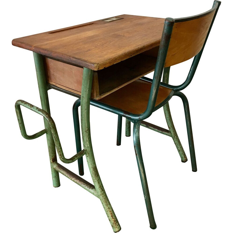 Vintage desk and its Mullca chair for children, 1950
