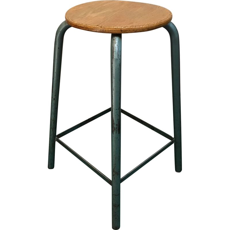 Vintage  wooden and steel stool by Matco