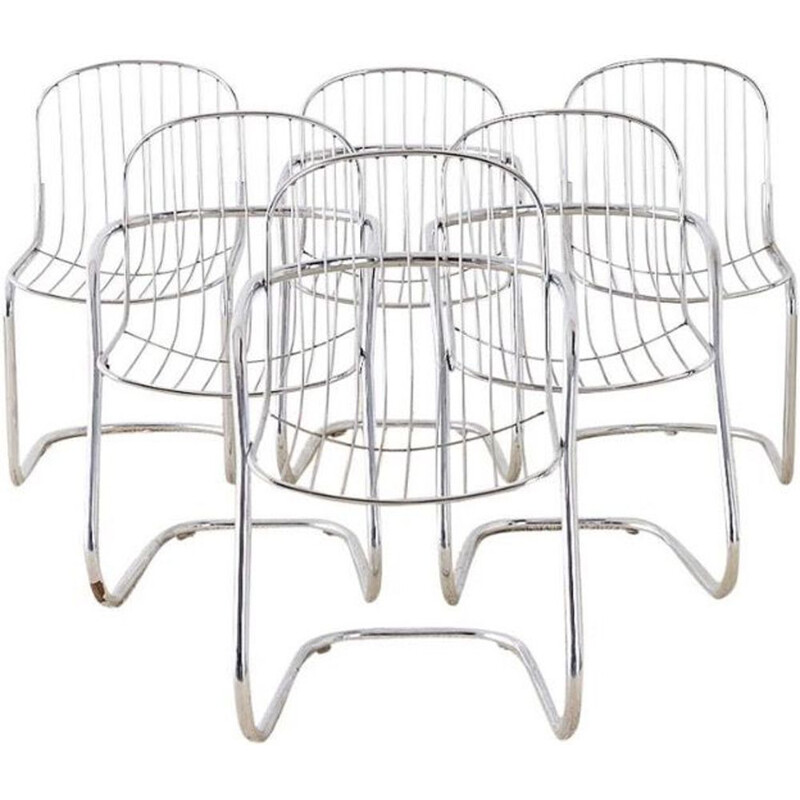 Vintage set of 6 chairs by Gastone Rinaldi, 1970
