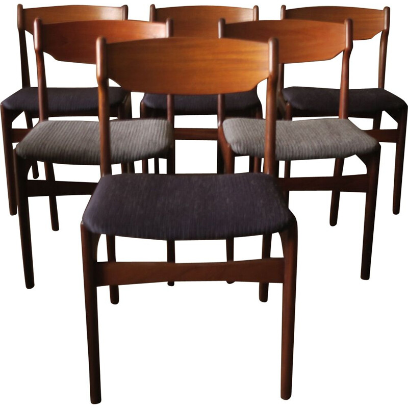 Vintage set of 6 Dining Chairs in teak by Erik Buch