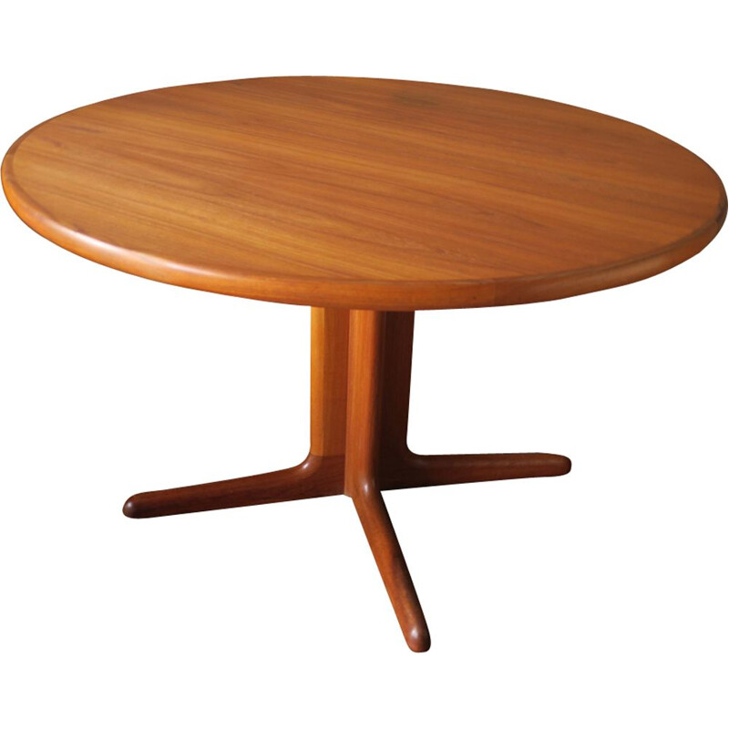 Vintage Danish Teak Circular Extendable Dining Table by Skovby