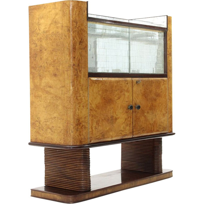 Vintage italian bar cabinet in briarwood and mirror, 1940s