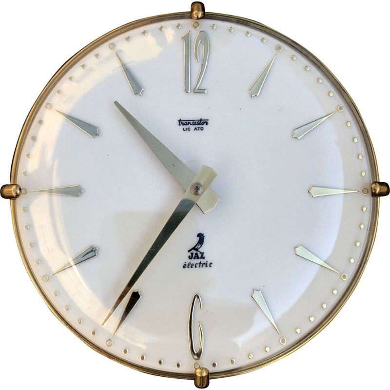 Vintage brass and glass wall clock, Switzerland, 1950